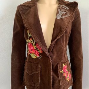 JW Los Angeles Brown Corduroy Embroidered Blazer S